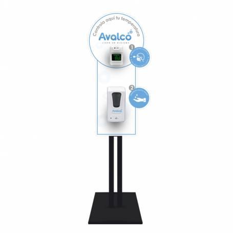 Totem Estación Sanitizante con termómetro infrarrojo y dispensador automático